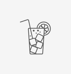 Cocktail flat icon with long straw vector