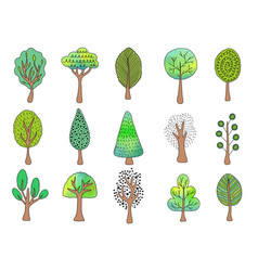 Collection hand drawn trees vector