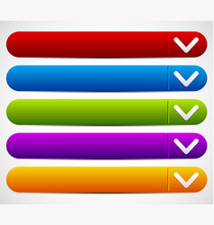 Colorful button set with arrows - drop down vector