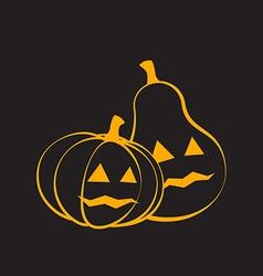 Couple Pumpkins for Halloween black background vector image