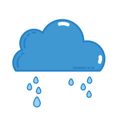 Cute cloud with raining and cold weather vector