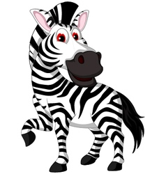 Cute zebra cartoon posing vector