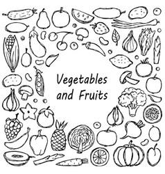 Doodle vegetarian food frame vector
