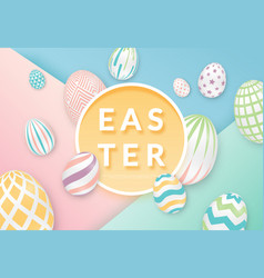 Easter background with 3d ornate eggs with circle vector