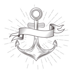 Emblem with vintage anchor and wavy banner vector