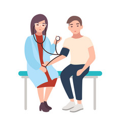 female doctor or medical adviser sits hospital vector image