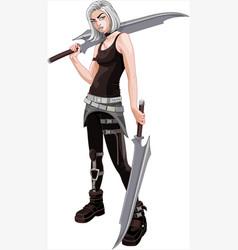 fighting warrior girl vector image