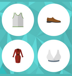 flat icon garment set of male footware singlet vector image