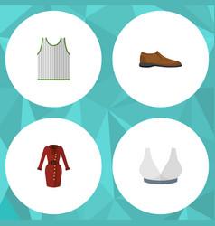 Flat icon garment set of male footware singlet vector