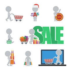Flat people sale vector
