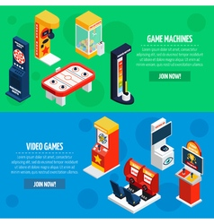 Game Machines 2 Isometric Banners Set vector image