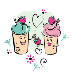 Girl and boy ice cream character and strawberry vector