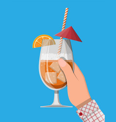 glass cold drink alcohol cocktail in hand vector image