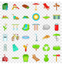green park icons set cartoon style vector image