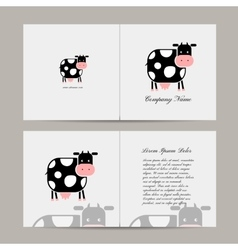 Greeting card with funny cow vector