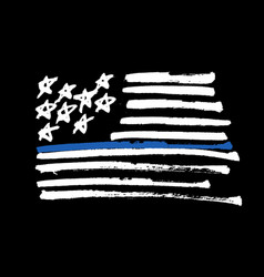 hand drawn american flag thin blue line vector image