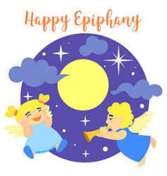 happy epiphany angels concept background cartoon vector image