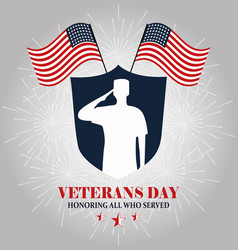 happy veterans day white silhouette soldier vector image