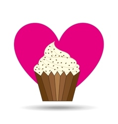 Heart cartoon sweet cup cake chip candy icon vector