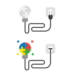Icon set connected puzzle pieces light bulb vector