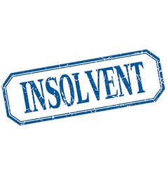 Insolvent square blue grunge vintage isolated vector