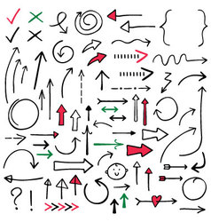 Isolated doodle arrows set vector image