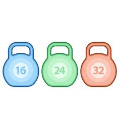 kettlebell weight set vector image