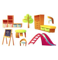 kindergarten furniture for children class room vector image
