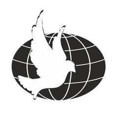 Logo of a pigeon with globe vector