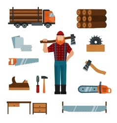Lumberjack cartoon character with lumberjack tools vector