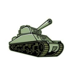 M4 sherman medium tank mascot vector