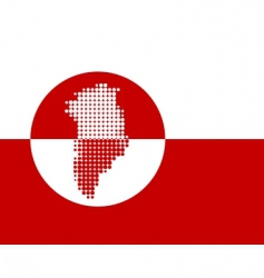 Map and flag of Greenland vector