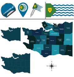 map vancouver with neighborhoods vector image