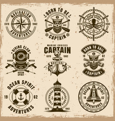 maritime set of emblems on dirty background vector image