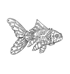 mechanical fish animal engraving vector image