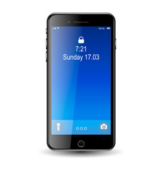 mobil phone with blue screen eps10 vector image