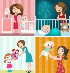 mother and baby design vector image