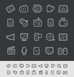 Multimedia Black Line vector image