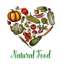 natural vegetables food sketch heart poster vector image