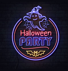 neon sign halloween party with ghost vector image