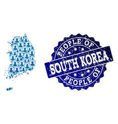 People composition of mosaic map of south korea vector