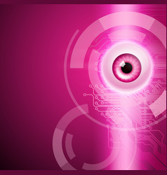 Pink background with eye and circuit vector