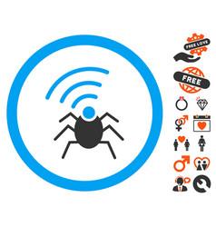 Radio spy bug icon with dating bonus vector
