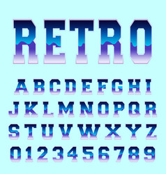 Retro alphabet font template vector