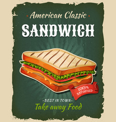 retro fast food sandwich poster vector image