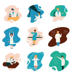 scientists characters wearing white coats working vector image