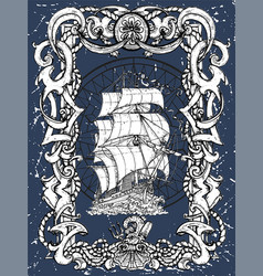 sea decorated baroque frame and old sailing ship vector image