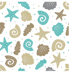 Sea seamless pattern with cute seashells vector