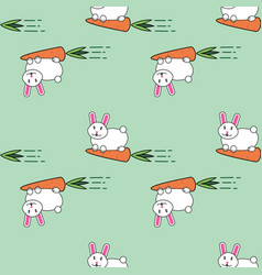 seamless pattern with cute lovely cartoon bunny vector image