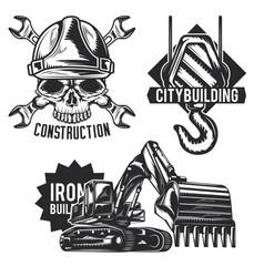 set building emblems labels badges logos vector image